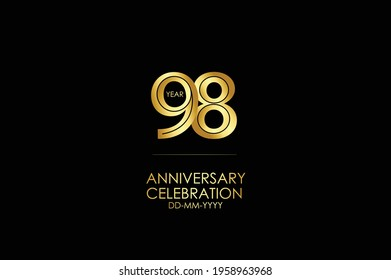 98 year anniversary celebration Gold Line. logotype isolated on Black background for celebration, invitation card, and greeting card-Vector