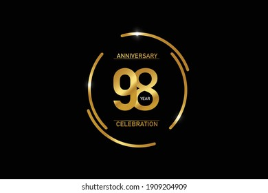 98 year anniversary celebration logotype. anniversary logo with circle golden and Spark light white color isolated on black background - vector
