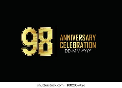 98 year anniversary celebration Yellow Golden Color Sporty Design logotype. anniversary logo isolated on Black background, for celebration, invitation card, and greeting card - Vector