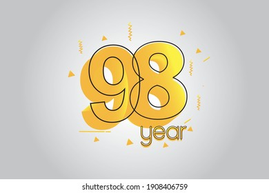 98 year anniversary celebration Yellow Colors Comical Design logotype. anniversary logo isolated on White background, vector Horizontal number design for celebration - vector