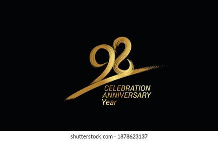 98 year anniversary chalk, golden ink Style , minimalist logo. years, jubilee, greeting card. Birthday invitation sign. Black space vector illustration on black background - Vector