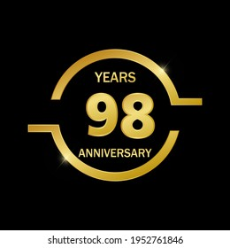 98 years anniversary celebration logo vector template design illustration
