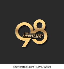 98 years anniversary celebration logotype with elegant modern number gold color for celebration