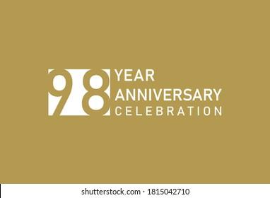 98 years anniversary celebration logotype on gold Background