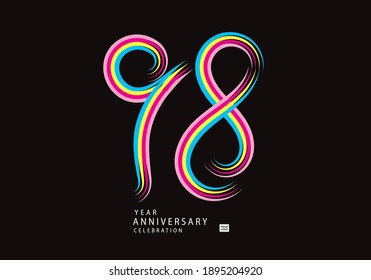 98 years anniversary celebration logotype colorful line vector, 98th birthday logo, 98 number, Banner template, vector design template elements for invitation card and poster.