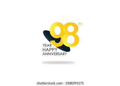 98 years anniversary celebration Yellow Color Design logotype. anniversary logo isolated on White background, vector Horizontal number design for celebration, invitation card, and greeting - Vector