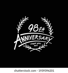 98 years design template. Vector and illustration. 98th years logo.