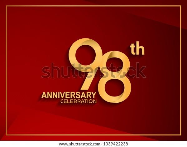 98th anniversary celebration logotype golden color isolated on red color