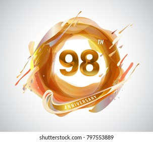 98th gold anniversary logo. abstract liquid color elements celebration background design