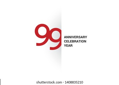 99 anniversary, minimalist logo. 99th jubilee, greeting card. Birthday invitation. 99 year sign. Red space vector illustration on white background - Vector