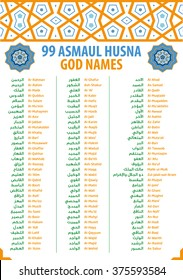 99 attributes / names of Allah (Asmaul Husna) scalable vector in thuluth arabic calligraphy style suitable for chart / poster / canvas printing for pre-school or home islamic education