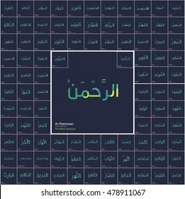 99 names Allah Name in arabic calligraphy with English Meaning of each. creative background islamic card. islamic pattern. flat vector illustration