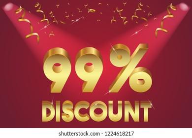 99% off discount promotion sale,  sale promo marketing.