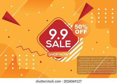 9.9 Sale Banner. Promo Offer Discount half Price for September 9th. Vector Advertising banner for online shop with Click To Action or CTA button