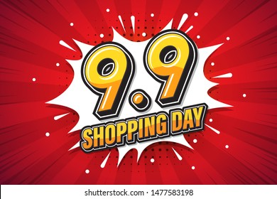 9.9 Shopping Day font expression pop art comic speech bubble. Vector illustration