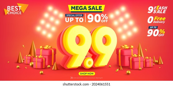 9.9 Shopping day Poster or banner with gift box on red background.Sales banner template design for social media and website.Special Offer Sale 90% Off campaign or promotion.