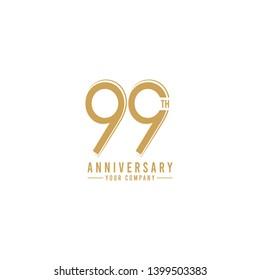 99 Th Year Anniversary Vector Template Design Illustration
