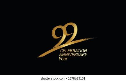99 year anniversary chalk, golden ink Style , minimalist logo. years, jubilee, greeting card. Birthday invitation sign. Black space vector illustration on black background - Vector