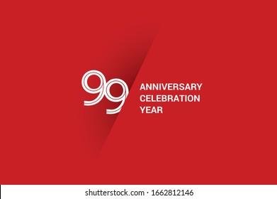 99 year anniversary, minimalist year logo jubilee, greeting card. Birthday invitation. White space vector illustration on Red background - Vector