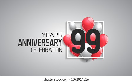 99 years anniversary celebration for company with balloons in square isolated on white background