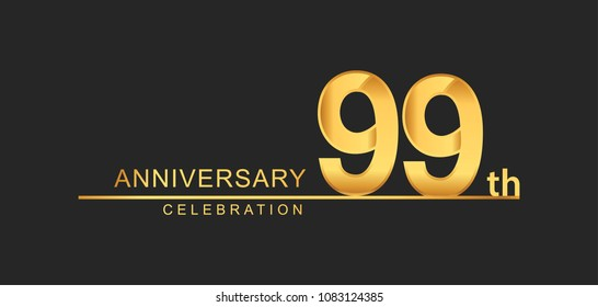 99 years anniversary celebration with elegant golden color isolated on black background, design for anniversary celebration.