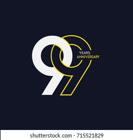 99 years anniversary celebration linked number logo, isolated on dark background