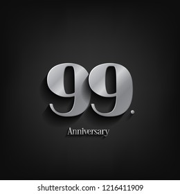99 years anniversary  celebration. Anniversary logo elegance number and 3D style color and shadow isolated on black background, vector design for celebration, invitation card, and greeting card