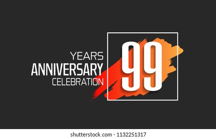 99 years anniversary celebration logotype with orange brush and square isolated on black background for use special celebration event