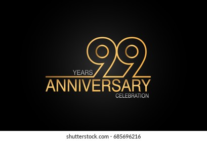 99 years anniversary celebration logotype. anniversary logo with golden and silver color isolated on black background, vector design for celebration, invitation card, and greeting card