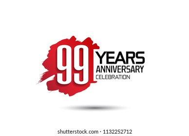 99 years anniversary celebration with red brush design isolated on white background for celebrating event