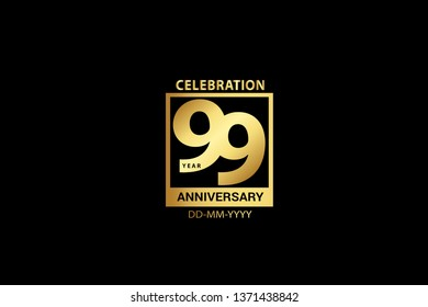 99 Years Anniversary celebrations logotype with golden and Spark light white color isolated on black background, vector design for celebration, invitation and greeting card - Vector