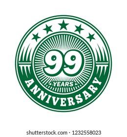 99 years anniversary. Anniversary logo design. Vector and illustration.
