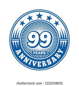 99 years anniversary. Anniversary logo design. Vector and illustration.