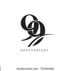 99 years anniversary pictogram vector icon, simple years birthday logo label, black and white stamp isolated