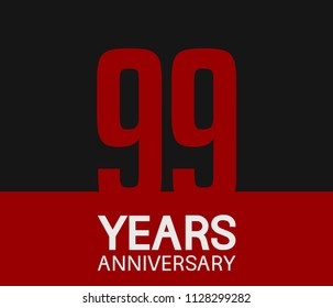 99 years anniversary simple design red number on black background for celebration template