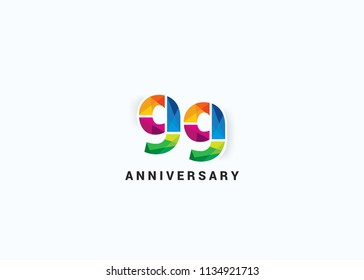 99 years colorful anniversary design with low poly style font number isolated on white background