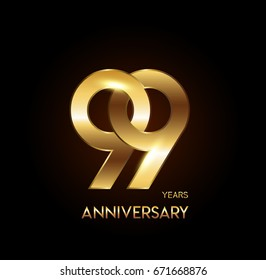 99 years gold anniversary celebration overlapping number logo, isolated on dark background