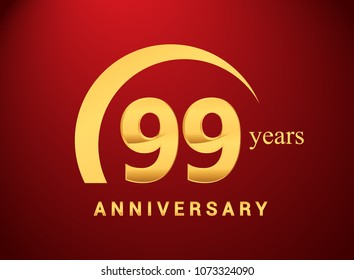 99 years golden anniversary logo with golden ring isolated on red background, can be use for birthday and anniversary celebration.