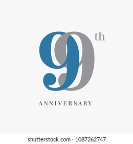 99th anniversary celebration overlapping number blue and grey simple logo, isolated on grey background