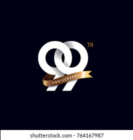 99th anniversary logo with gold ribbon. template design for web, game ,Creative poster, booklet, leaflet, flyer, magazine, invitation card