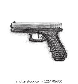 9mm semi-automatic hand drawn pistol. Modern firearm vector illustration. Popular handgun