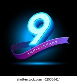 9th Anniversary 3D text with glow effect .celebration vector  template design