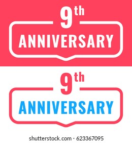 9th anniversary. Badge icon, logo. Flat vector illustration on white and red background. Can be used for birthday, wedding or company event.