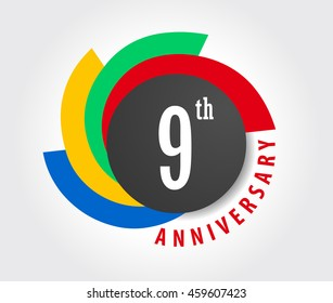 9th Anniversary celebration background, 9 years anniversary card illustration - vector eps10