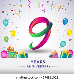 9th Anniversary Celebration Design, with gift box, balloons and confetti, Colorful Vector template elements for your, nine years birthday celebration party.