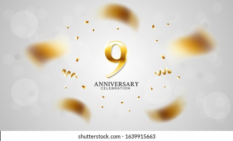 9th anniversary celebration with gold color and white background bokeh effects and sparkling confetti. modern elegant design can be used for a wedding or company. editable vector EPS 10