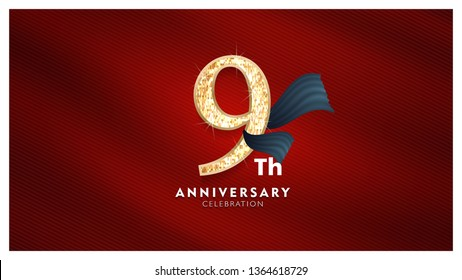 9th Anniversary celebration - Golden numbers with red fabric background