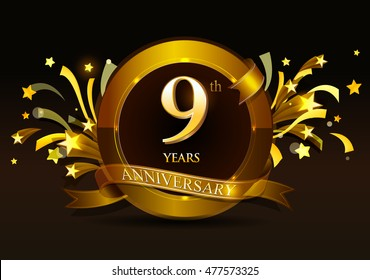 9th anniversary celebration with golden ring and ribbon