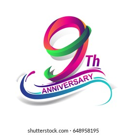 9th anniversary celebration logotype green and red colored. nine years birthday logo on white background.