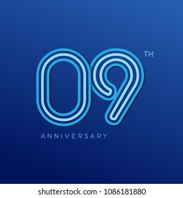 9th anniversary celebration logotype. anniversary logo with blue line color isolated on dark blue background, vector design for celebration, invitation card, and greeting card
